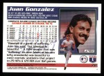 1995 Topps #70  Juan Gonzalez  Back Thumbnail
