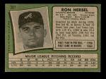 1971 Topps #387  Ron Herbel  Back Thumbnail