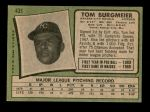 1971 Topps #431  Tom Burgmeier  Back Thumbnail