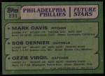 1982 Topps #231   -  Ozzie Virgil / Bob Dernier / Mark Davis Rookies Back Thumbnail