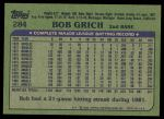 1982 Topps #284  Bobby Grich  Back Thumbnail