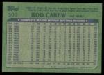1982 Topps #500  Rod Carew  Back Thumbnail