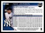 2010 Topps Update #91  Nick Johnson  Back Thumbnail