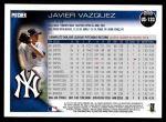 2010 Topps Update #133  Javier Vazquez  Back Thumbnail