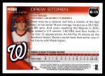 2010 Topps Update #175  Drew Storen  Back Thumbnail