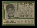 1971 Topps #609  Leo Durocher  Back Thumbnail