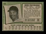 1971 Topps #665  Ron Swoboda  Back Thumbnail