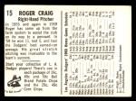 1960 Bell Brand Dodgers #15  Roger Craig     Back Thumbnail