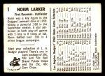 1960 Bell Brand Dodgers #1  Norm Larker     Back Thumbnail