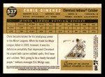 2009 Topps Heritage #537  Chris Gimenez  Back Thumbnail