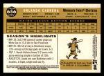 2009 Topps Heritage #656  Orlando Cabrera  Back Thumbnail