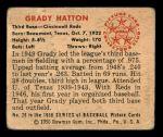 1950 Bowman #26  Grady Hatton  Back Thumbnail