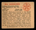 1950 Bowman #228 CR Bill Nicholson  Back Thumbnail