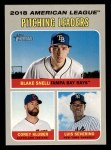 2019 Topps Heritage #70   -  Corey Kluber / Luis Severino / Blake Snell AL Pitching Leaders Front Thumbnail