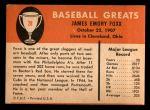 1961 Fleer #28  Jimmie Foxx  Back Thumbnail
