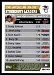 2005 Topps Update #140   -  Johan Santana / Randy Johnson / John Lackey AL Strikeout Leaders Back Thumbnail