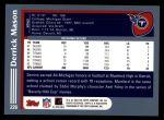 2003 Topps #226  Derrick Mason  Back Thumbnail