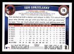2011 Topps #76  Tom Gorzelanny  Back Thumbnail