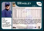 2001 Topps Traded #78 T Jason Grimsley  Back Thumbnail
