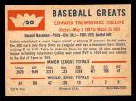 1960 Fleer #20  Eddie Collins  Back Thumbnail