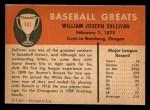 1961 Fleer #141  Billy Sullivan  Back Thumbnail