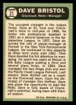 1967 Topps #21  Dave Bristol  Back Thumbnail