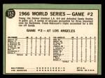1967 Topps #152   -  Jim Palmer 1966 World Series - Game #2 - Palmer Blanks Dodgers Back Thumbnail