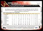 2016 Topps #452 A Gerrit Cole  Back Thumbnail