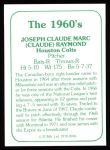 1978 TCMA The 1960's #46  Claude Raymond  Back Thumbnail