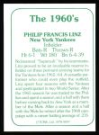 1978 TCMA The 1960's #97  Phil Linz  Back Thumbnail