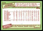 1985 Topps Traded #64 T Howard Johnson  Back Thumbnail