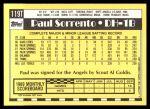 1990 Topps Traded #119 T Paul Sorrento  Back Thumbnail