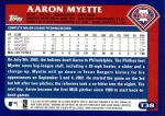 2003 Topps Traded #38 T Aaron Myette  Back Thumbnail