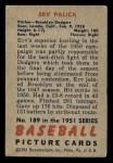 1951 Bowman #189  Erv Palica  Back Thumbnail