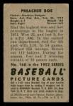 1952 Bowman #168  Preacher Roe  Back Thumbnail
