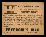 1950 Topps Freedoms War #71   Surprise Target Back Thumbnail
