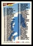 1993 Topps #330   Checklist 166-329 Back Thumbnail