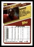 1993 Topps #646  Monte Coleman  Back Thumbnail