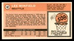 1970 Topps #147  Lee Winfield   Back Thumbnail