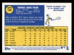 2019 Topps Heritage #194  Tommy Pham  Back Thumbnail