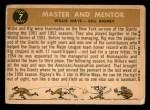 1960 Topps #7   -  Willie Mays / Bill Rigney Master & Mentor Back Thumbnail
