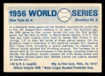 1970 Fleer World Series #53   1956 Yankees vs. Dodgers Back Thumbnail