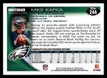 2010 Topps #244  Mike Kafka  Back Thumbnail