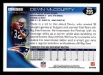 2010 Topps #295  Devin McCourty  Back Thumbnail