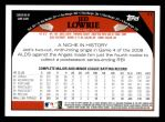 2009 Topps #77  Jed Lowrie  Back Thumbnail
