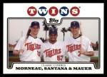 2008 Topps #287  Justin Morneau / Johan Santana / Joe Mauer  Front Thumbnail