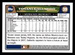 2008 Topps #39  Yovanni Gallardo  Back Thumbnail