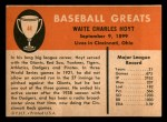 1961 Fleer #44  Waite Hoyt  Back Thumbnail