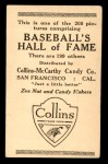 1917 E135 Collins-McCarthy #161  Burt Shotton  Back Thumbnail