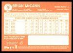 2013 Topps Heritage #70  Brian McCann  Back Thumbnail